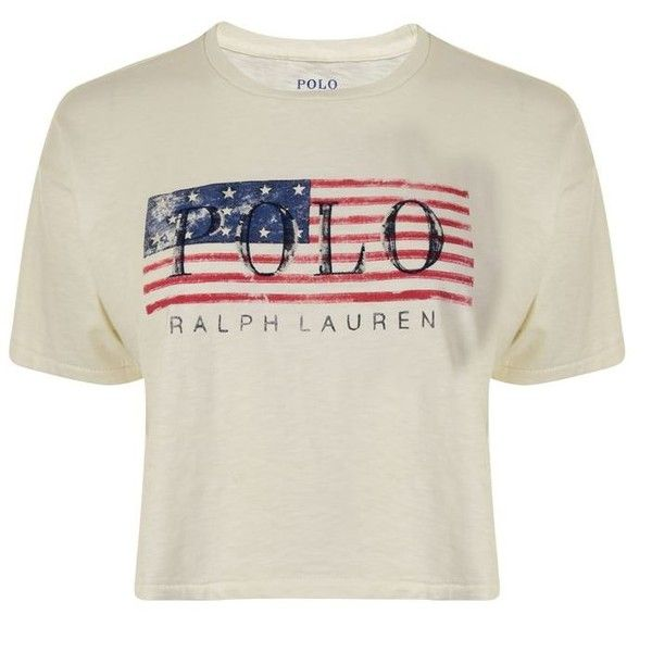 Polo Ralph Lauren Flag Cropped T Shirt ($83) ? liked on Polyvore featuring  tops, t-shirts, crew neck t shirt, short sleeve crop top, white cotton t  shirts, ...