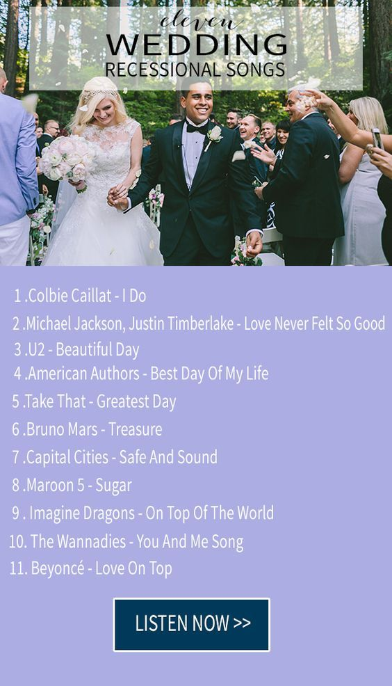 11 wedding recessional songs | Wedding exit songs, Wedding exits ...