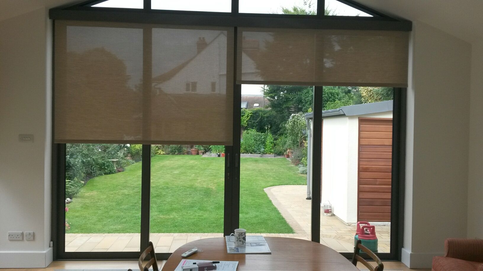 Farmhouse Sliding Door Window Treatments