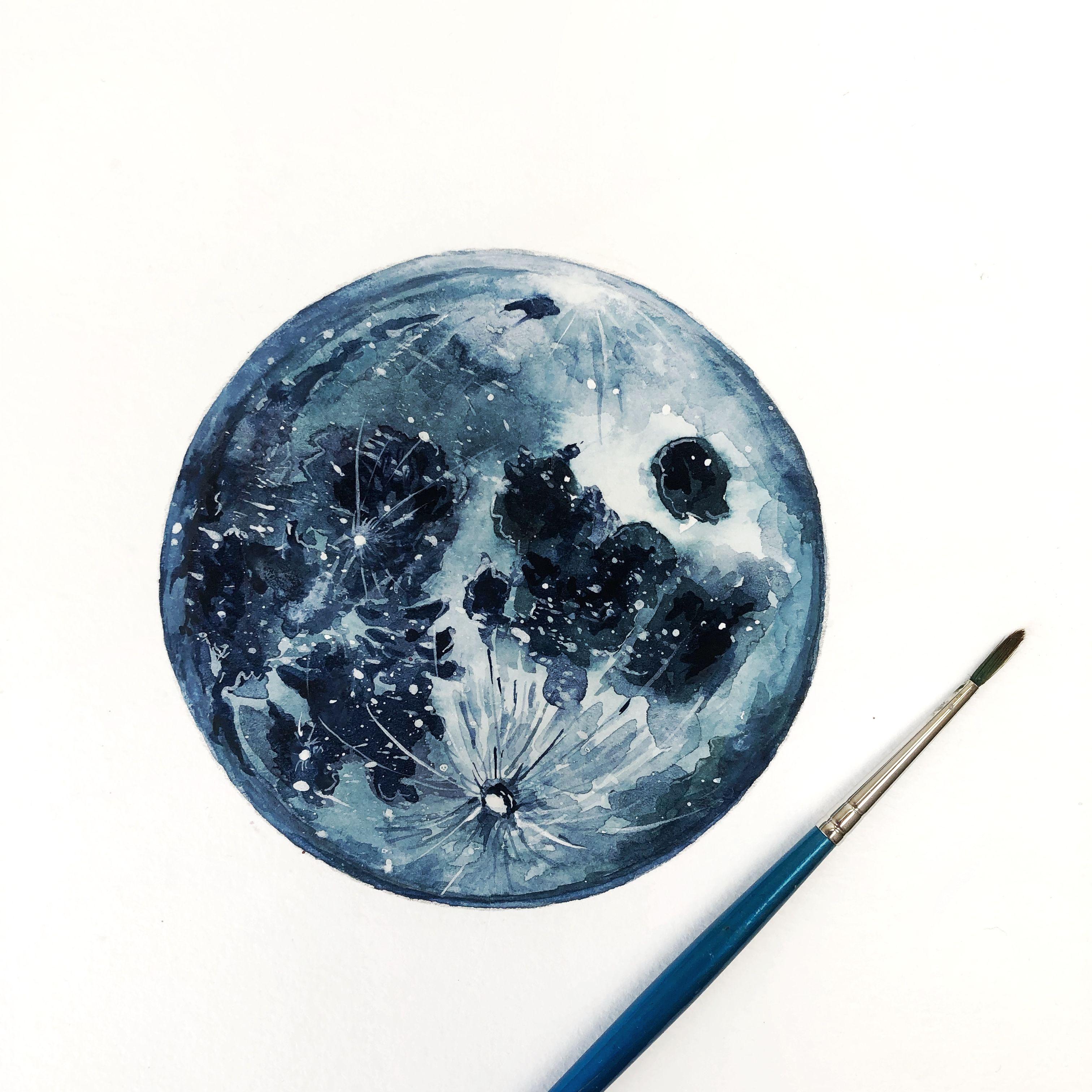 Blue Watercolor Moon Watercolor Moon Moon Painting Watercolor Art