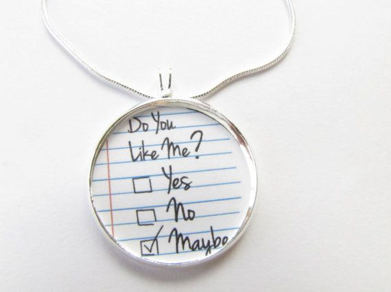 Gift,Girlfriend,Dating Gift,pop Culture Jewelry Yes//no//Maybe Love Necklace-do You Love Me