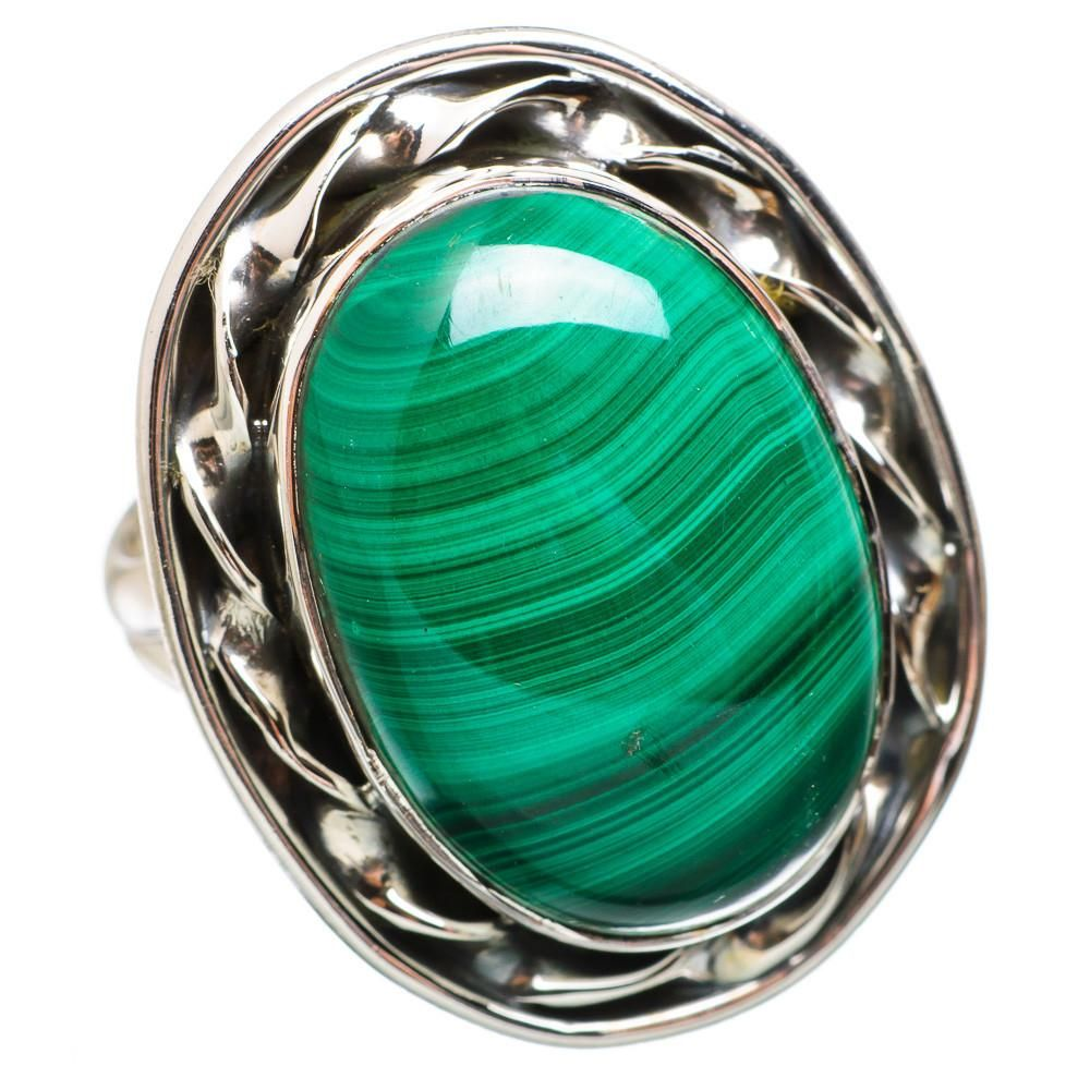 Ana silver co large malachite sterling silver ring size