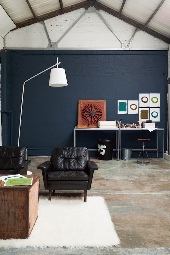 Cool Warehouse Living Room Painted in Indigo Night by Dulux | Blue