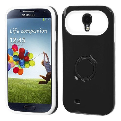 Hybrid Card Protector w/ Ring Stand Case for Galaxy S4 - Black/White