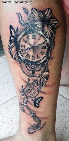 Tatuaje De Relojes Flores Nombres Zonatattoos Com Tatuajes De Relojes Fotos De Tatuajes Tatuajes Intimos