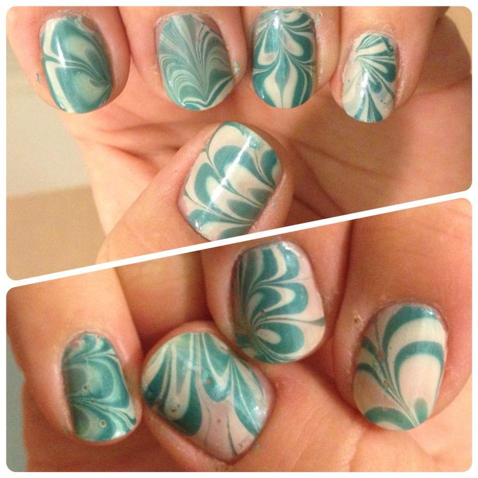 Water marble, nail art   Paznokcie   Pinterest   Water marble nail ...