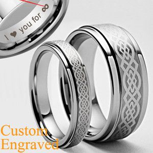 Custom His Her Celtic Anium Ring Set Wedding Bands