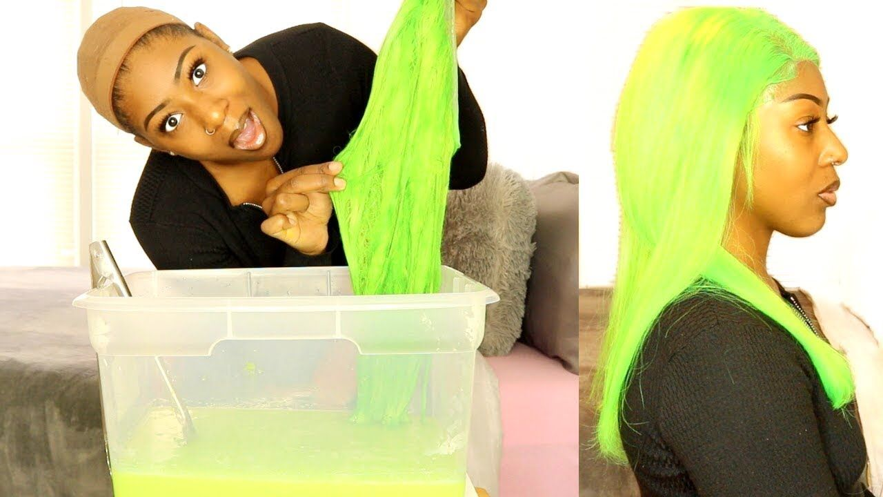 I Went Neon Green Dye Wig In Seconds Watercolor Method Video