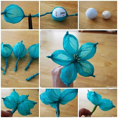 Dorable flower made out of tissue paper component ball gown stunning tissue paper flower made with a golf ball how about a ping mightylinksfo