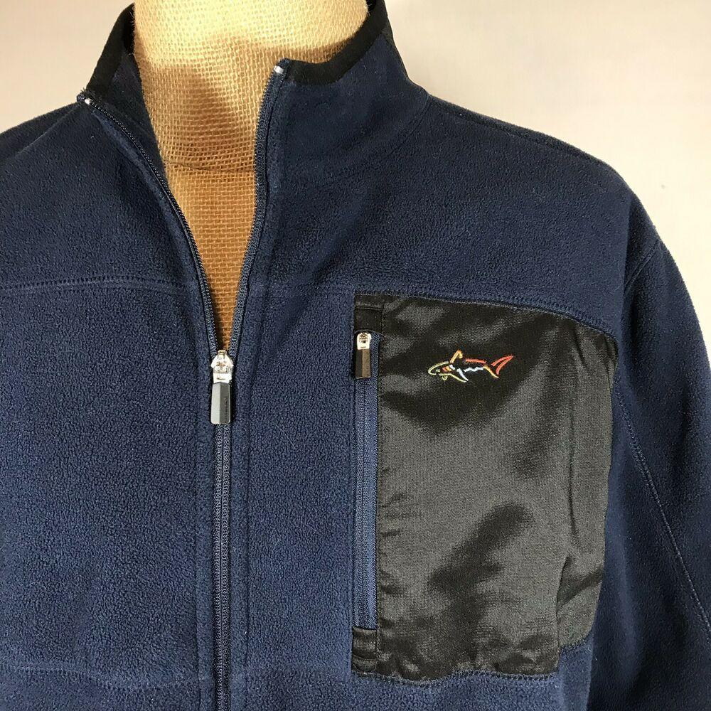 Greg Norman Tasso Elba Navy Blue Fleece Jacket Golf Full Zip Large Pockets Windbreaker Gregnorman Golf Golffashion M Fleece Jacket Knit Jacket Greg Norman