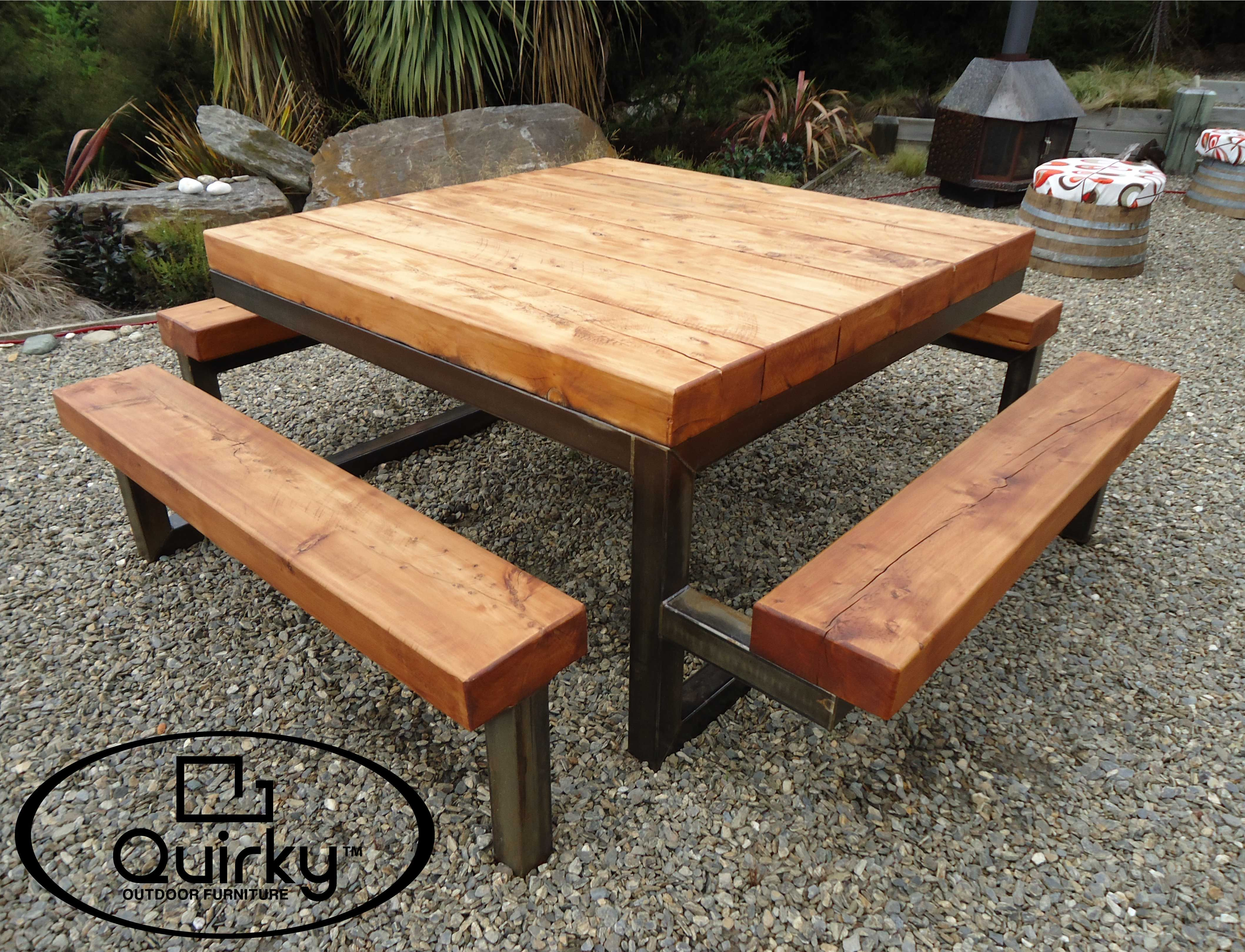 Quirky Outdoor Furniture Square 1500x1500mm Mild Steel Stained