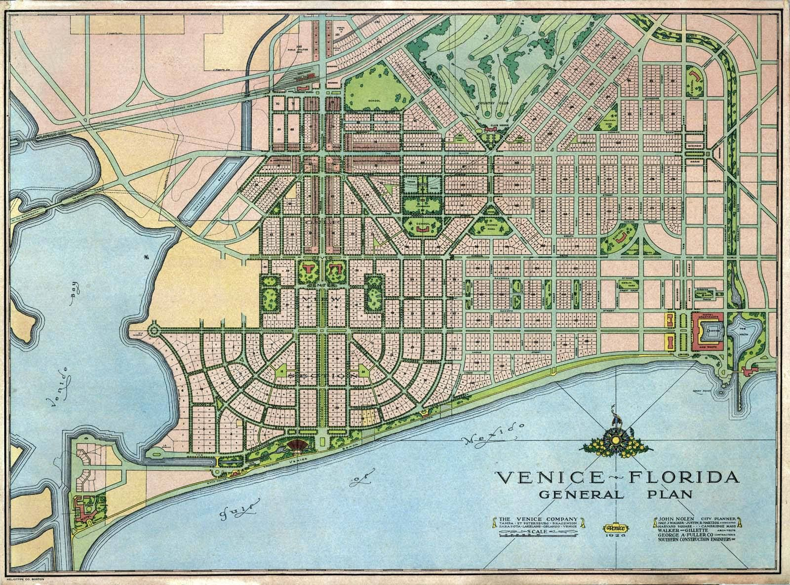 The original John Nolen plan for the City of Venice, 1926. | Venice ...