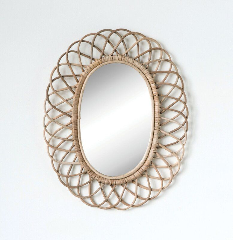 Bamboo Weave Accent Wall: Haverton Oval Woven Bamboo Industrial Accent Mirror