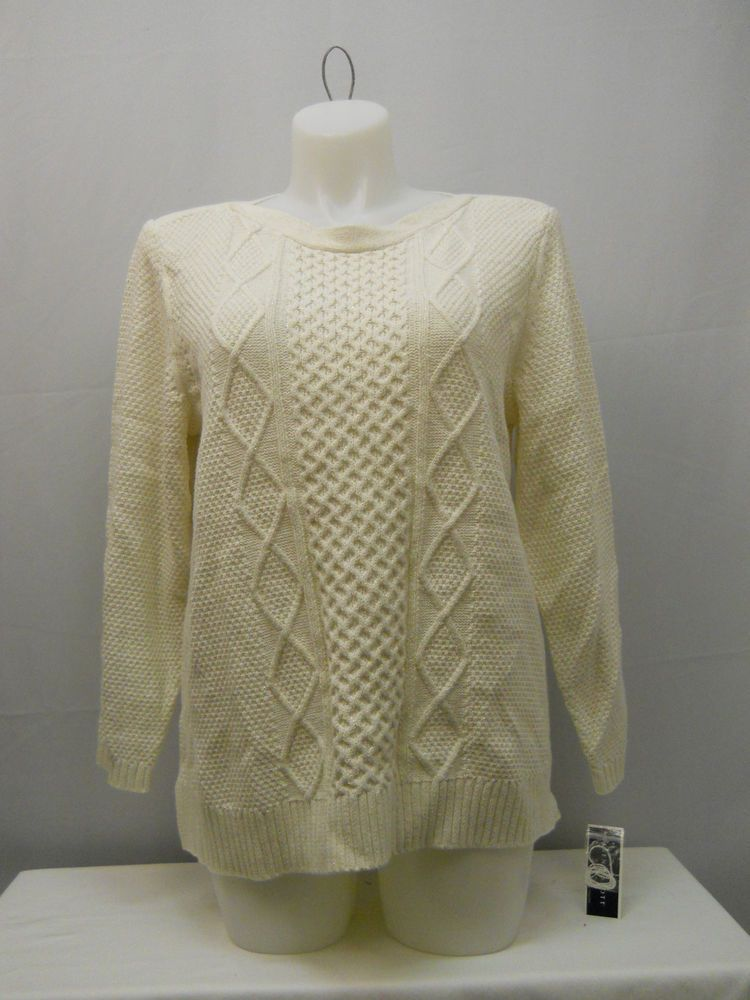 Plus Size 1X Cable Sweater KAREN SCOTT Women's Eggshell Long Sleeves Pullover #KarenScott #BoatNeck