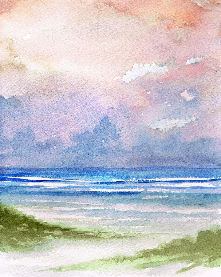Seashore Sunset Watercolor Sunset Sunset Art Watercolor Sky