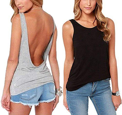 27520b304f Mippo Women's Sexy Cute Open Back Tank Tops Plain Basic Soft Loose Fit  Backless Shirt Racerback Yoga Workout Summer Clothes Camisole Black Gray 2  Pack