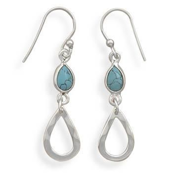 Stabilized Turquoise Drop French Wire Earrings