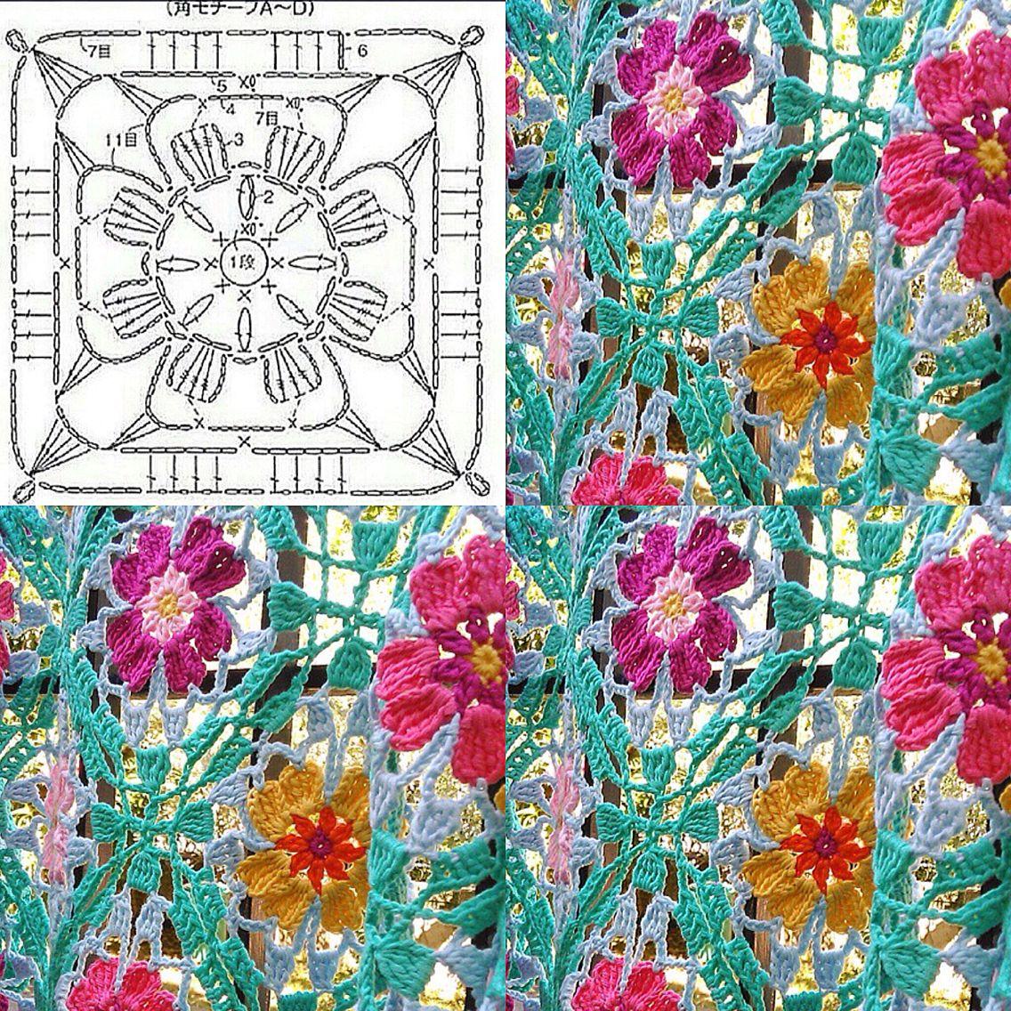 For The Amazing Japanese Crochet Flower Shawl From Instagram Here Rose Diagram Flowers 4 Is Pattern Hookchia Made It On Eresaestegui