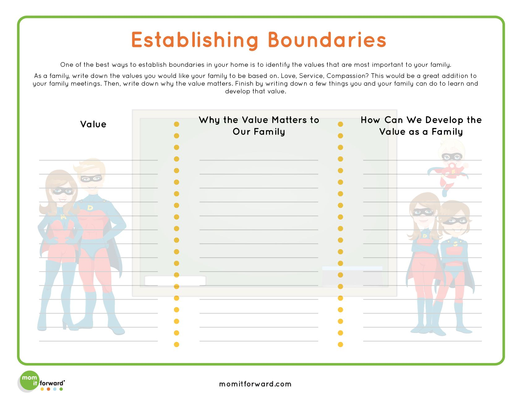 Boundaries Worksheet For Kids