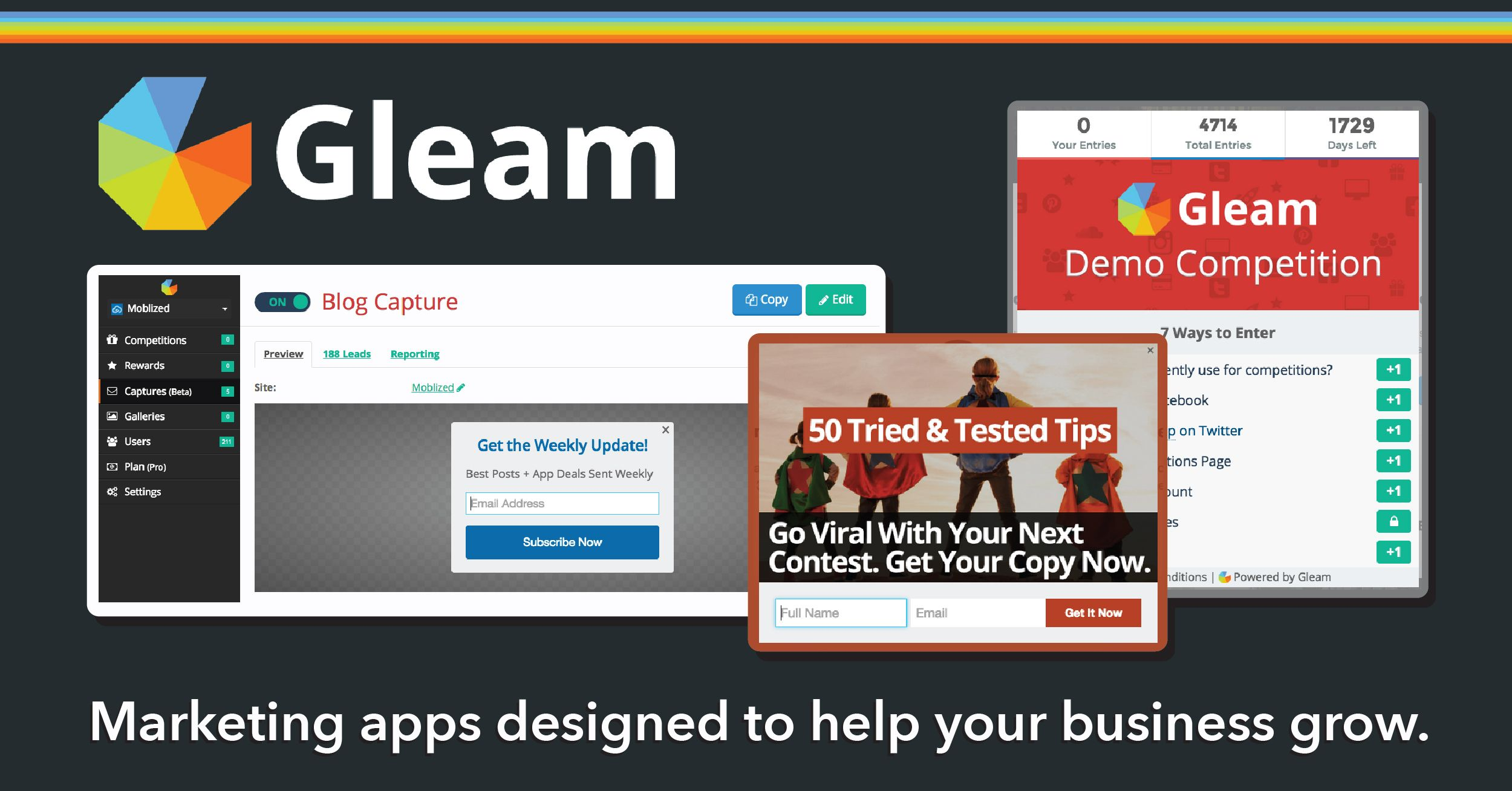 Gleam - A suite of engaging marketing tools to help grow your business. Use it to run contests, capture emails, and offer customer rewards. Works with MailChimp, SalesForce, Campaign Monitor, and more... #AppoftheDay