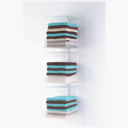 Beautiful Riley Toweltray Wall Mounted Towel Holder With Three Shelves.Made From A  Strong Frosted Perspex. Holds Approximately 36 Folded Towels.