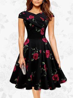Short: Buy 1950s Vintage V-neck Short Sleeves Print Dress   for only  US$ 85.99  at SimpleDress, SimpleDress.