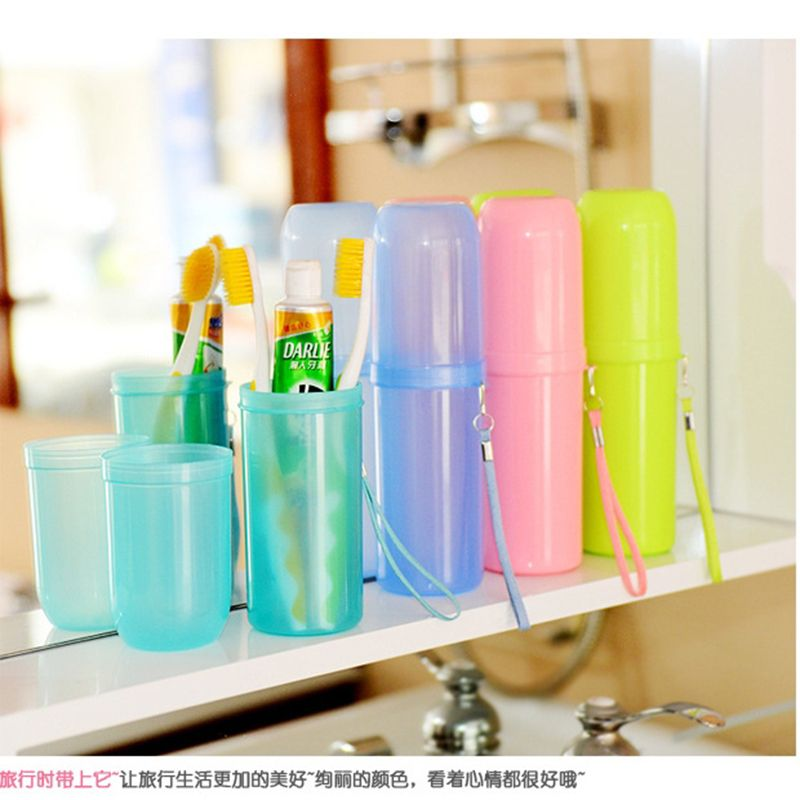 4 Colors Portable Utility Toothbrush Holder Tooth Mug Toothpaste Cup Bath  Travel Accessories Set e0c27e0bd8a5