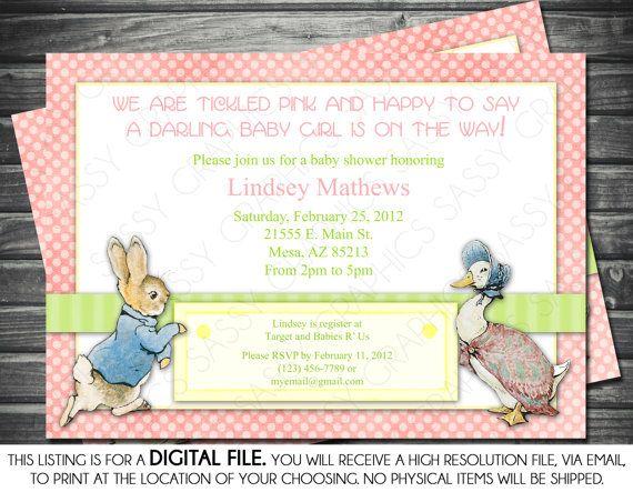Girl Baby Shower Invitation   Peter Rabbit Theme, Pink, Polka Dots,  Printable, Digital
