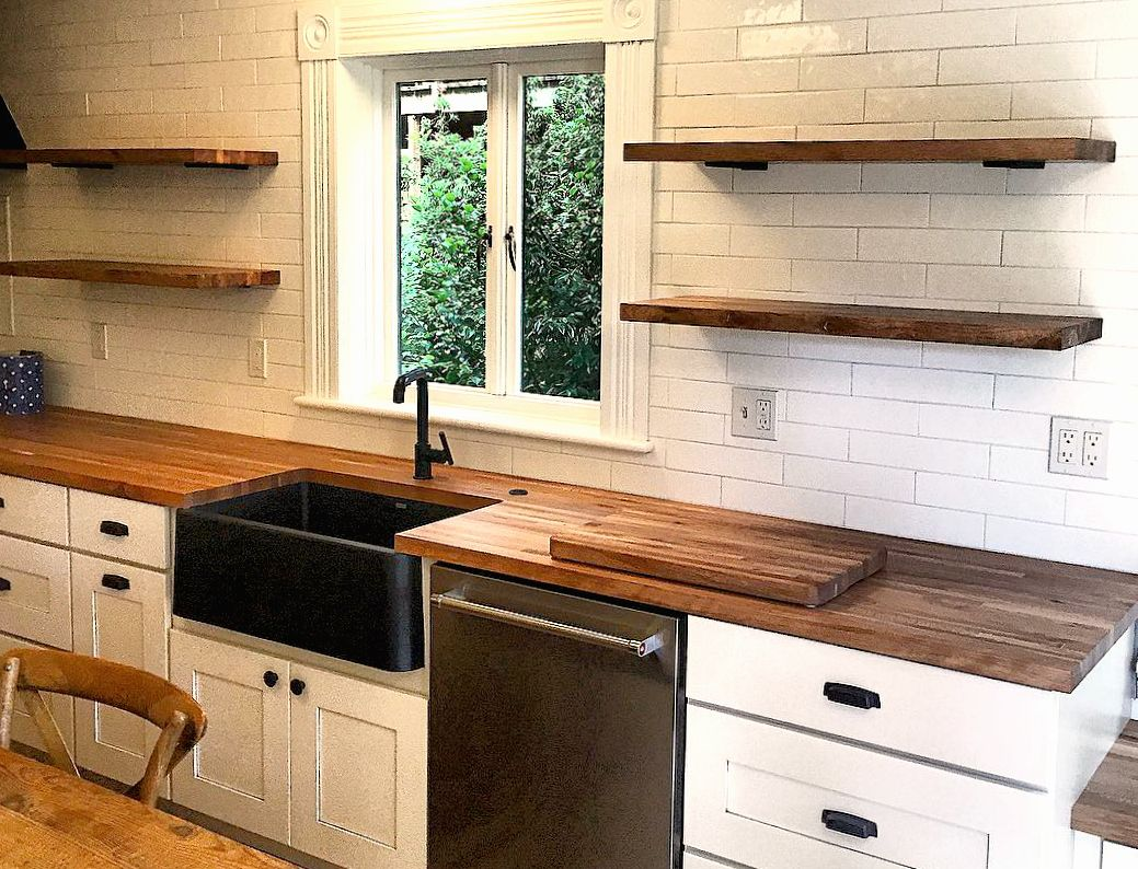 Oregon White Oak Butcher Block And Open Shelving From Sustainable Northwest Wood In This Vintage Rustic Kitchen New Kitchen Cabinets Refacing Kitchen Cabinets