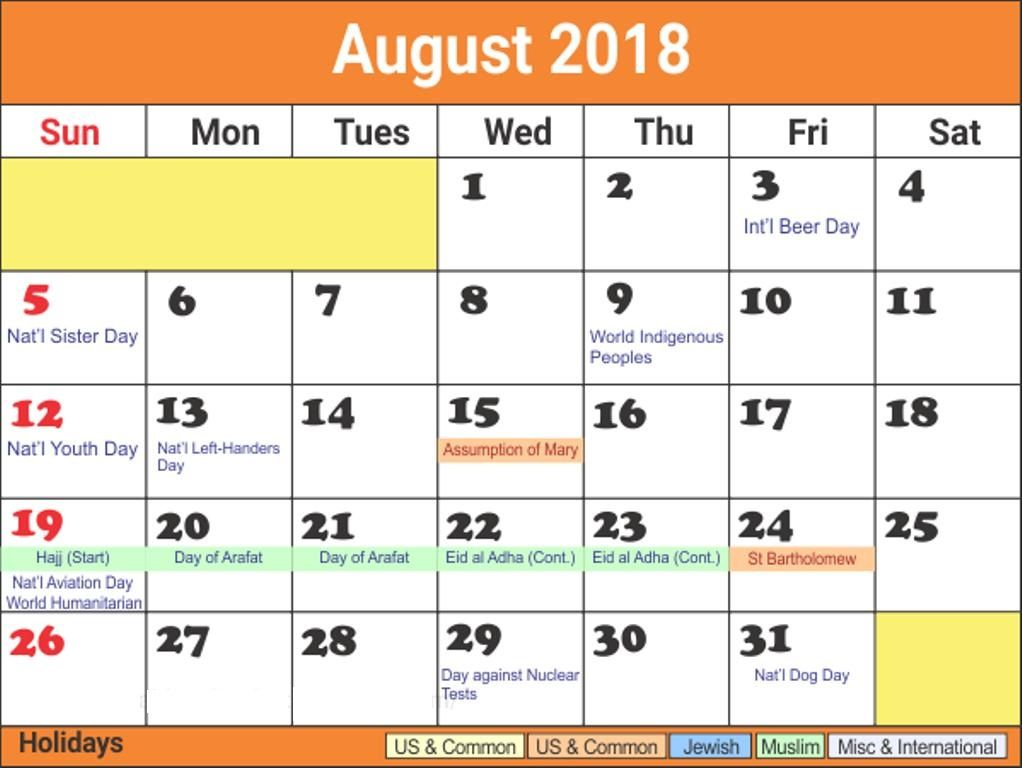 August 2018 Calendar With Holidays Bank And Public Calendar