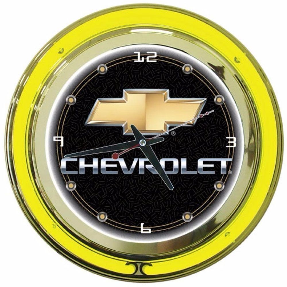 Double Neon Wall Clock Chevy High Polished Chrome Molded Resin ...