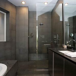 Bellfia - bathrooms - gray slate tile, gray slate tile floor, gray slate bathroom floor, slate bathroom floor, gray slate tile shower, gray slate bathroom, gray slate tile shower surround, charcoal slate tile, modern gray bathroom, glass shower partition, shower partition,