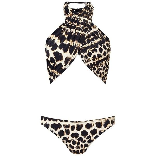 bd1bc5fce7 Lipsy Leopard Print Wrap Monokini ($22) ❤ liked on Polyvore featuring  swimwear, one-piece swimsuits, bikini, bikini one piece swimsuit, wrap  bathing suit, ...