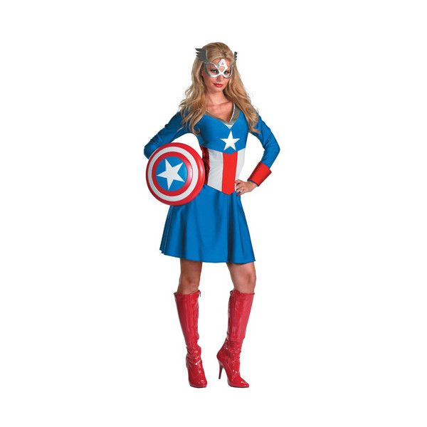 Captain America Womenu0027s Adult Halloween Dress Up / Role Play Costume Size Small  sc 1 st  Pinterest & Sexy Captain America Womens Costume ($36) ? liked on Polyvore ...