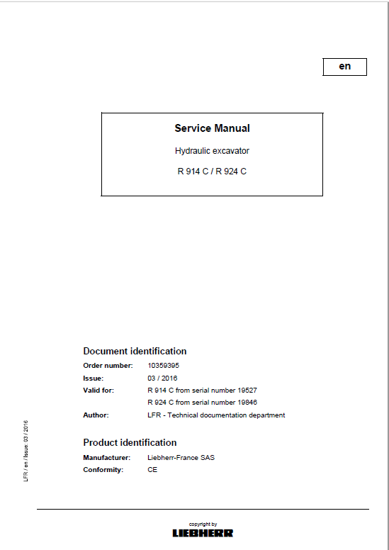 Liebherr R914c R924c Litronic Excavator Service Manual Excavator Manual Hydraulic Excavator