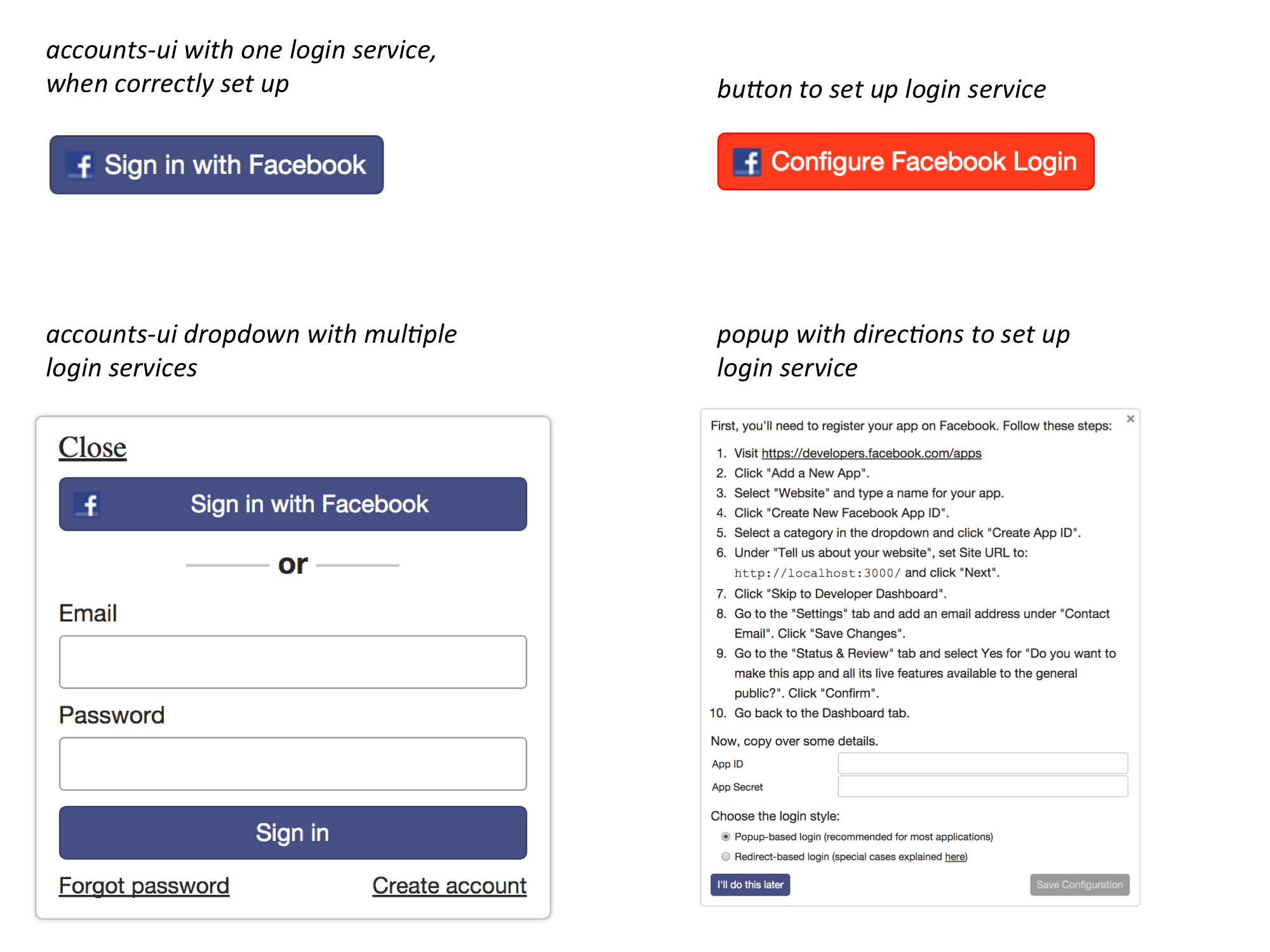 How to build user login functionality into a Meteor app