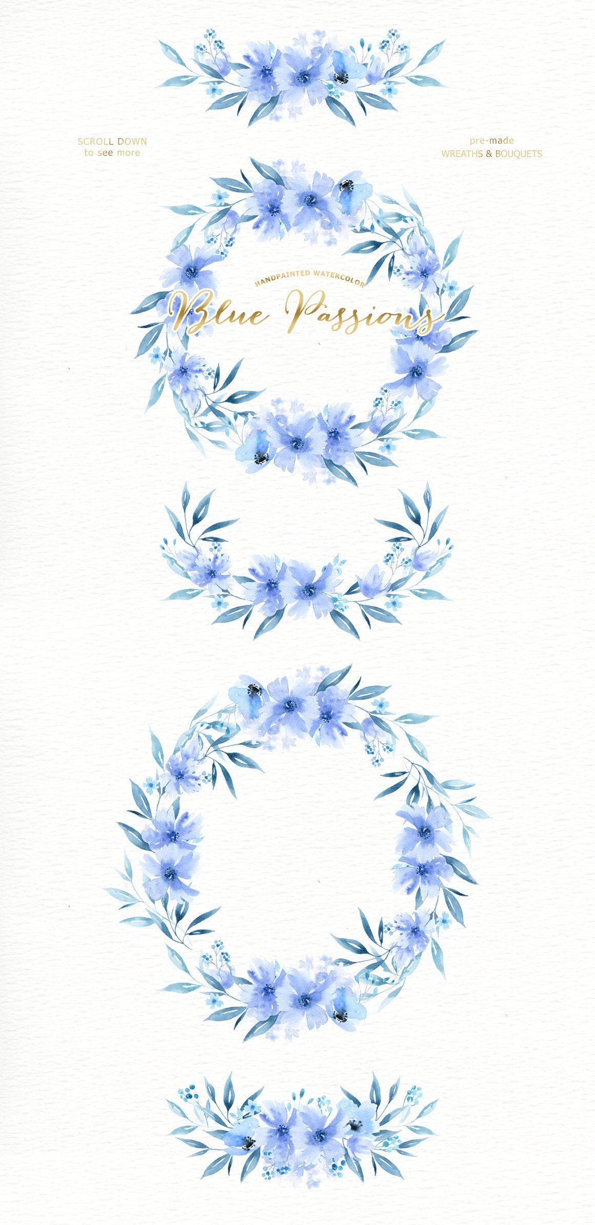 Blue Passions Watercolor Clipart Cvety Akvarel Ramki