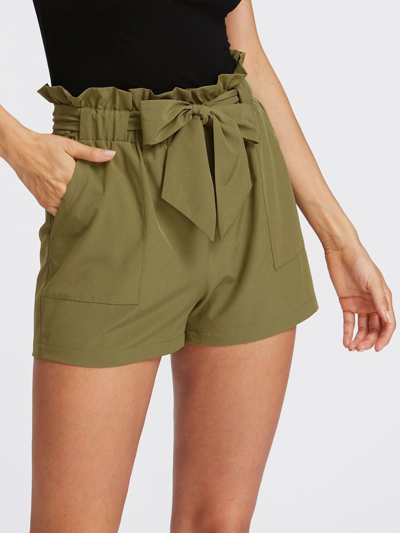 7140edc4eb Self Tie Ruffle Waist Shorts Army Green in 2019 | Girls clothes ...