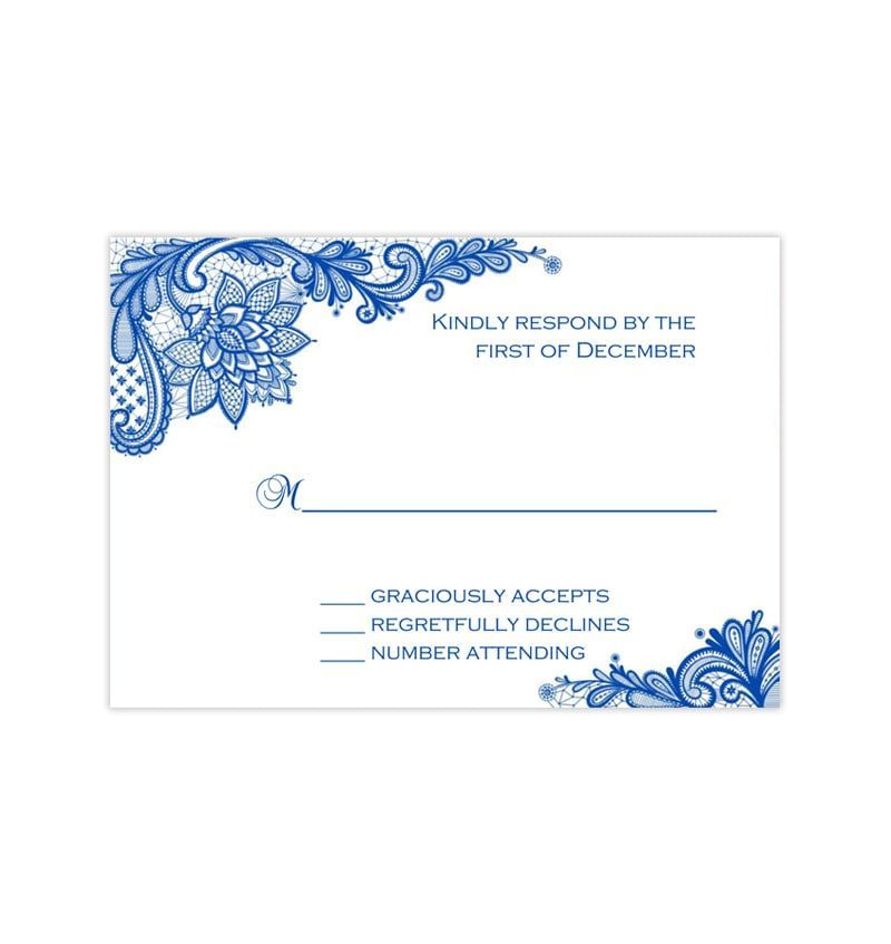 Wedding Response Cards Vintage Lace Cobalt Blue Wedding Response Cards Response Cards Microsoft Word Document