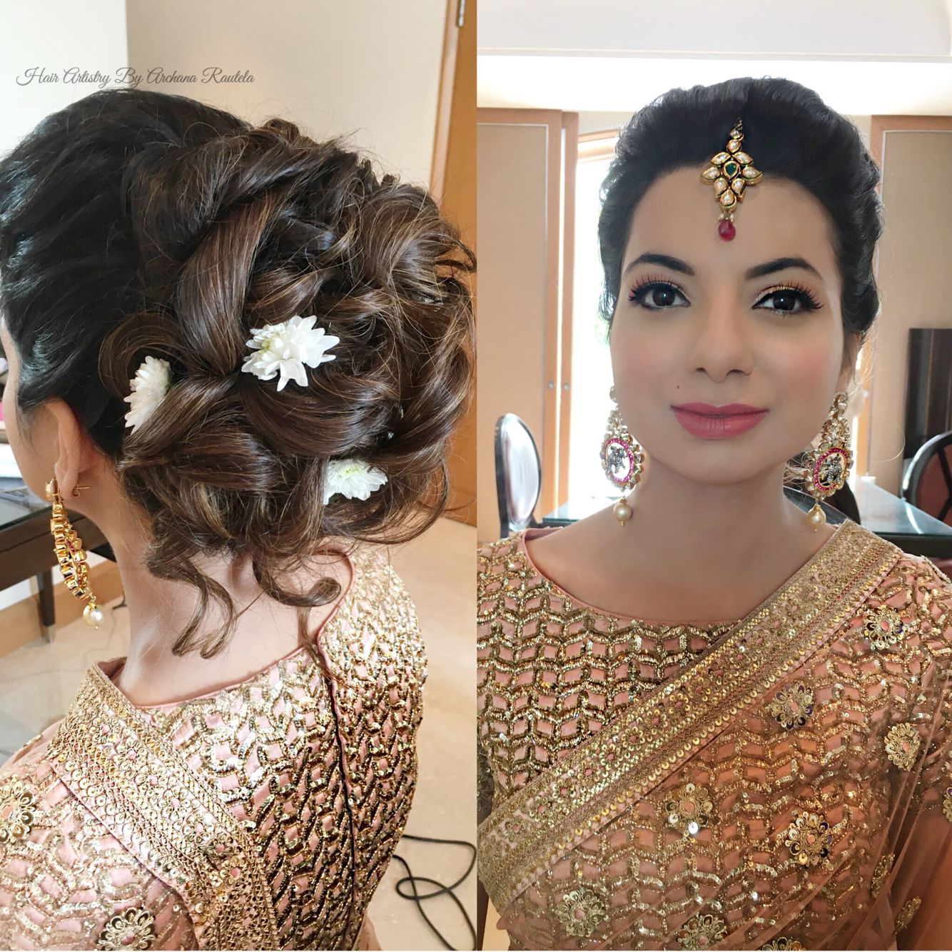 Flowers And Bun Hair Artistry By Archana Rautela Indian Party Hairstyles Party Hairstyles Bun Hairstyles