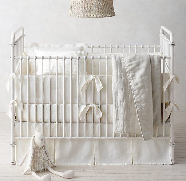 Washed Organic Linen Nursery Bedding Collection Ivory