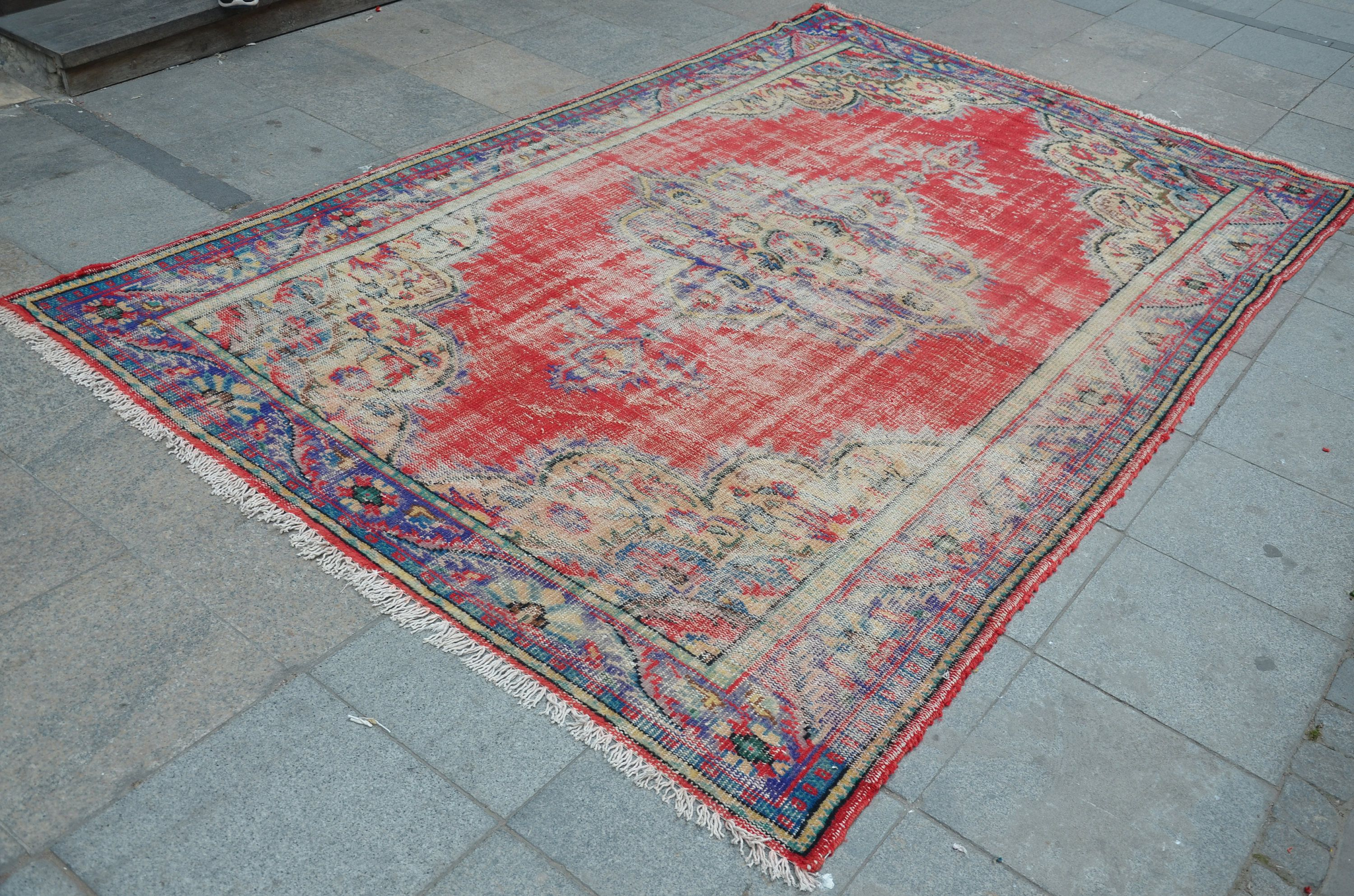 Red And Blue Rug Turkish Oushak Faded Handmade Overdyed