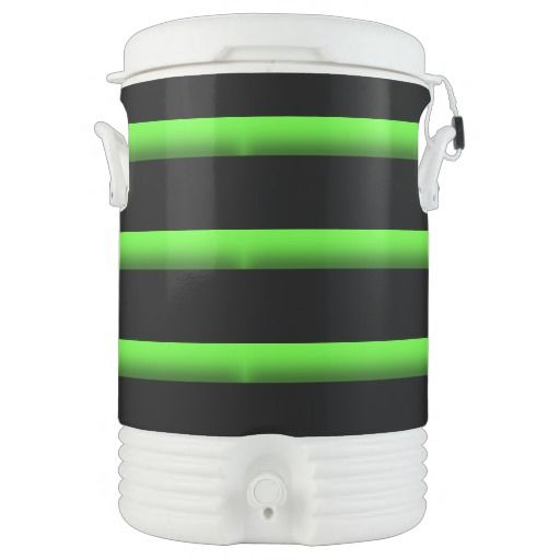 Neon Green and Black Stripe Design Igloo Cooler
