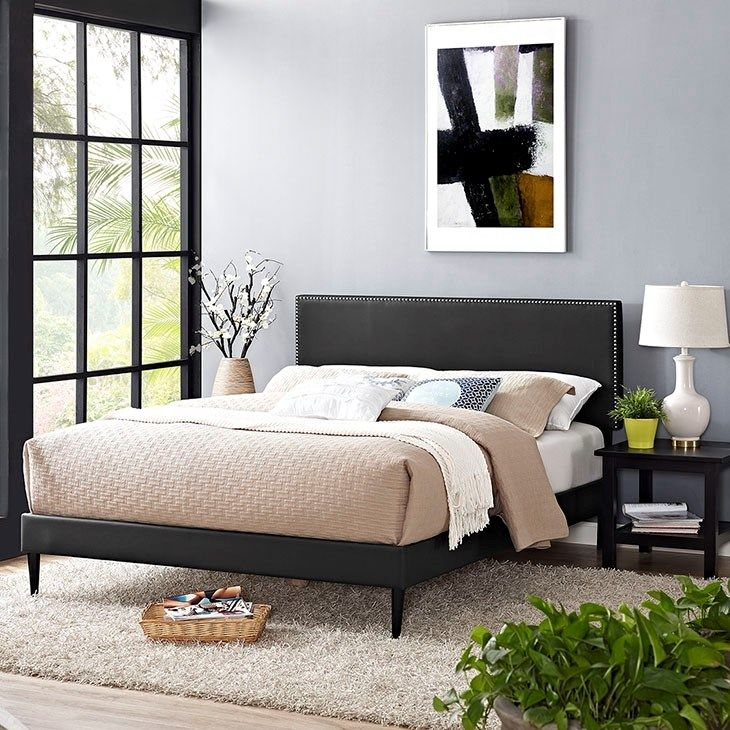 Phoebe Queen Vinyl Platform Bed with Round Tapered Legs in
