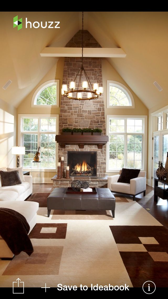 Love The Windows And Fireplace Contemporary Living Room