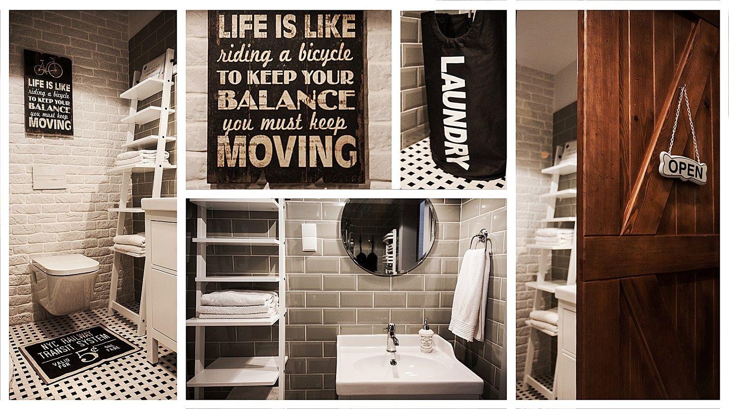 Retro bathroom wooden door typography wall decor ladder shelf