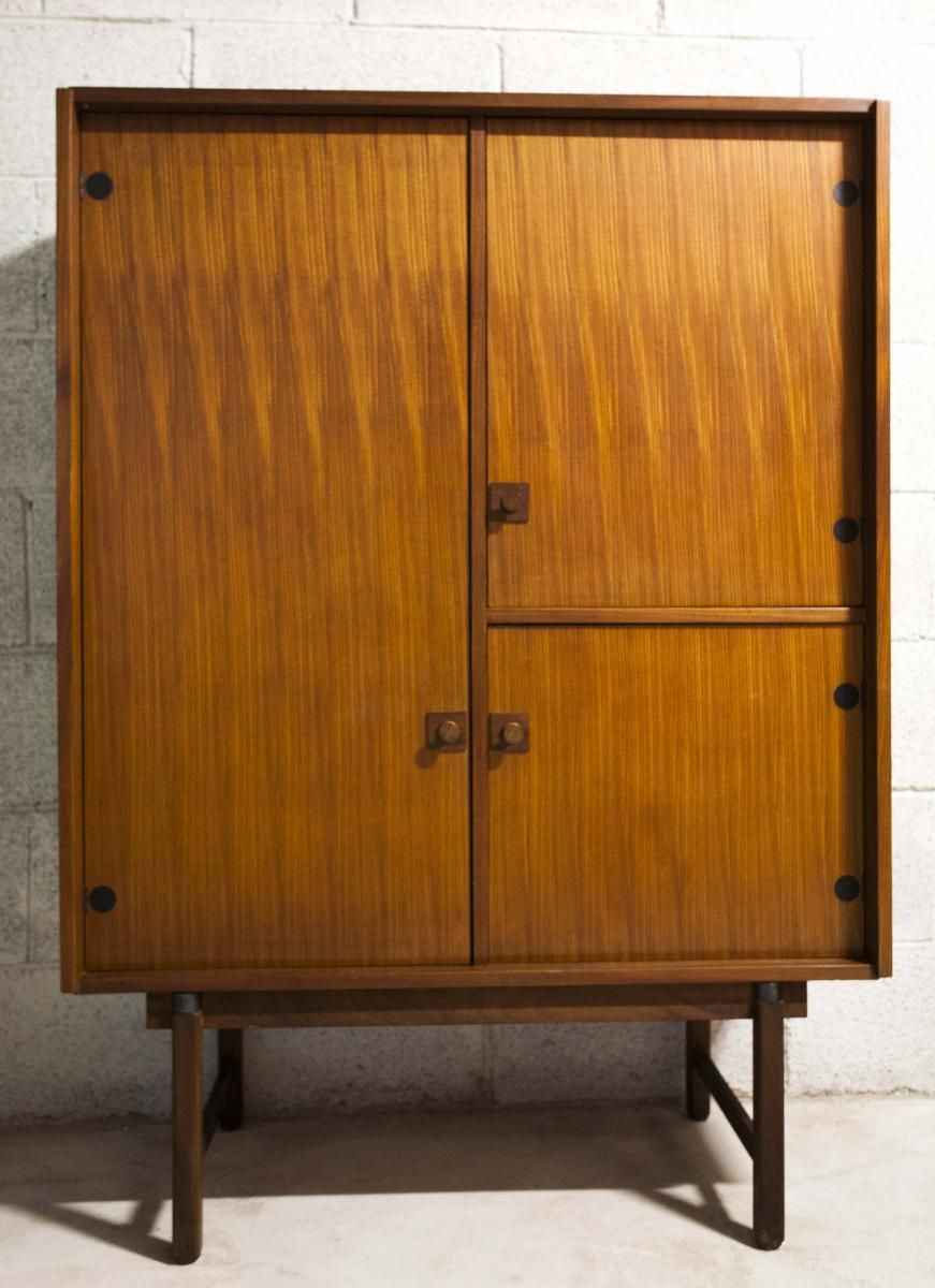 This teak highboard was designed and produced in Sweden during the 1950s.