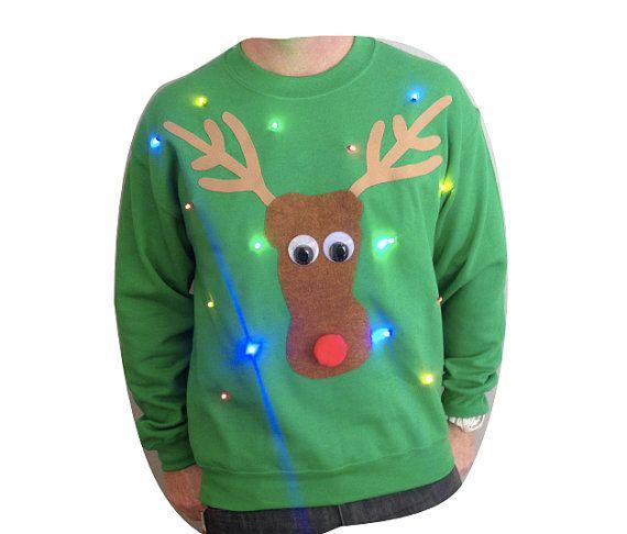 Ugly Christmas Sweater - Lights Up! - Reindeer - LED Lights - Light Up Christmas Sweater - SALE!! 10 OFF!! _____**Fast Shipping**_____ DsPM1
