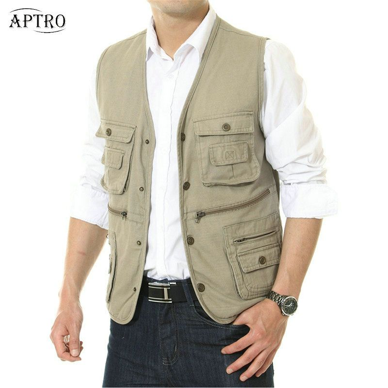 26d984316aa Mens Multi Pocket Vest Sleeveless Travel Photography Safari Vest Waistcoat  gilet homme Asian Size-in Vests   Waistcoats from Men s Clothing    Accessories on ...