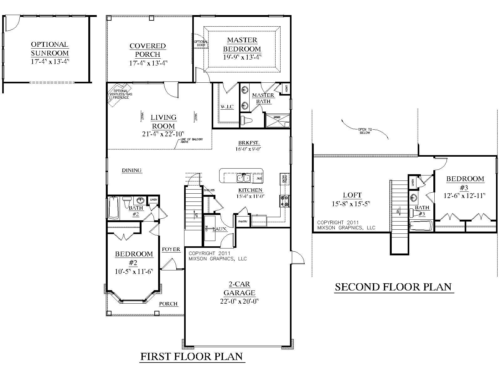 House plan 2219 dawson floor plan traditional 1 1 2 for 2 story house plans master bedroom downstairs